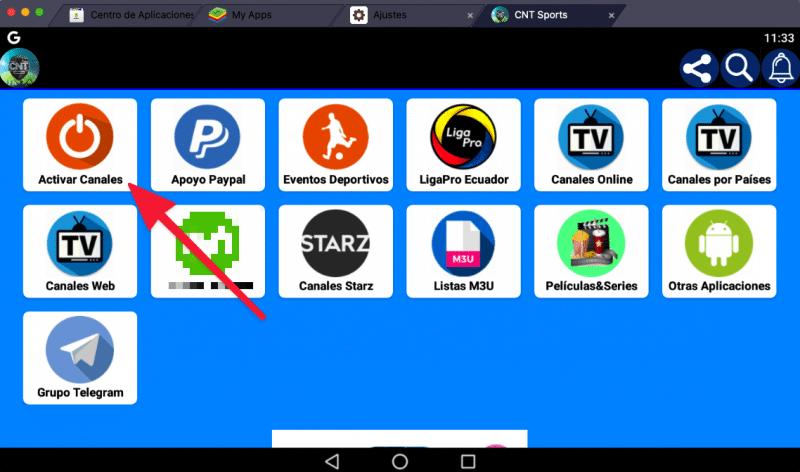 CNT Sports Apk activar canales